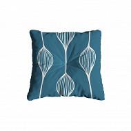 Coussin carré flock 38x38x6 cm polycoton/lustrasil elunia bleu bleu