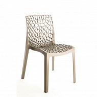 "Grandsoleil chaise ""gruvyer"" polypropylène coloris taupe dim 52x51x 81 cm"