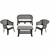 IPAE progarden set veranda  anthracite avec coussin gris
