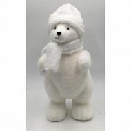 """Ours """"bonnet et écharpe blanc"""" h43cm"""