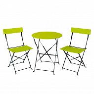 Set bistros pliant - 1 table ronde diam 60cm + 2 chaises - vert & noir