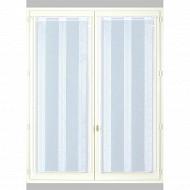 Paire de vitrages étamine fines rayures 90x200 blanc