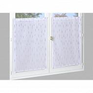 Paire de vitrage étamine impression métal 60x120 cms blanc