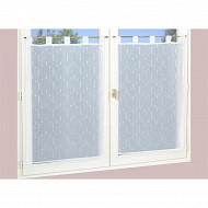 Paire de vitrage étamine fils coupes 45x120 cm blanc