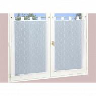 Paire de vitrage étamine fils coupes 45x90 cm blanc