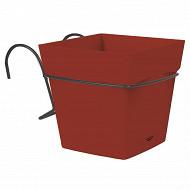 Eda pot toscane carré 3.4 L avec soucoupe clipsée + support - Rubis