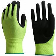 Gants rempotage nylon enduction latex taille 8 noir/jaune vert