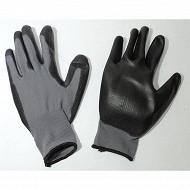 Lot de 2 paires de gants petits travaux de précision polyester gris/noir taille 09