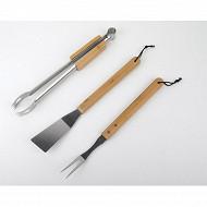 Verciel set 3 accessoires barbecue : 1 spatule, 1 fourchette et une pince