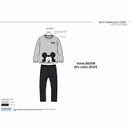 Pyjama long velours mickey GRIS NOIR MICKEY 10 ANS
