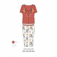 Pyjama corsaire manches courtes femme BRIQUE T50\52
