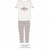 Pyjama corsaire manches courtes femme GRIS CHINE T50\52