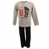 Pyjama long manches longues GRIS CHINE/MARINE 12ANS