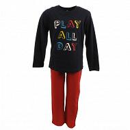 Pyjama long manches longues MARINE/ROUGE 10ANS