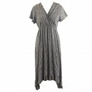 Robe longue manches courtes femme LIBERTY BLEU T48
