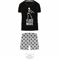 Pyjashort manches courtes junior garçon NOIR/GRIS CHINE S