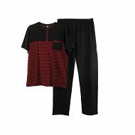 Pyjama long manches courtes homme NOIR/ RAYE ROUGE XXL