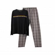 Pyjama bas chaine et trame homme MARINE/ CARREAUX GRIS XXL