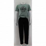 Pyjama long manches courtes cali VERT/NOIR XXL