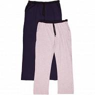 Lot de 2 pantalons pyjama ALL OVER GRIS CHINE / MARINE XXL