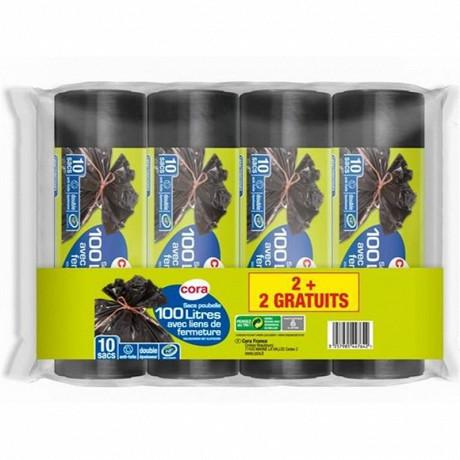 Cora sacs poubelle 4 x10 lien classique 100l lot 2+2 offerts