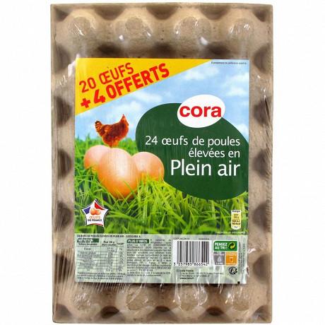 Cora 20 oeufs plein air + 4 offerts