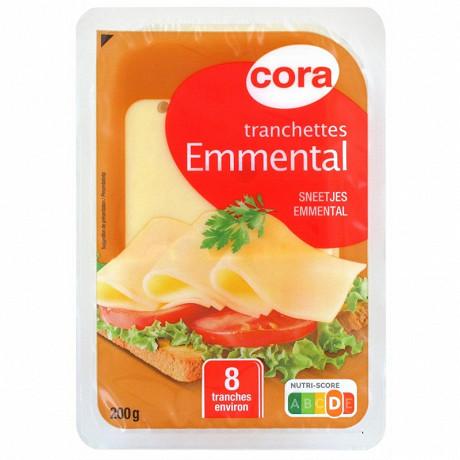 Cora 8 tranchettes d'emmental décalées au lait pasteurisé 29% mg - 200 g
