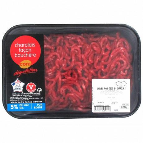 Cora dégustation viande hachée charolaise façon bouchère 5% mg 350g