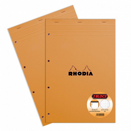 Rhodia lot de 2 blocs note perforé 210x318 160 pages petits carreaux