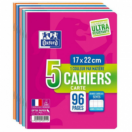 Lot 5 CAHIERS OXFORD AGRAFE 17X22 96P 90G SEYES RDC
