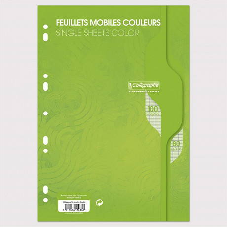 Feuilles simples perforées Vert 21X297 100 pages seyes 80g Calli