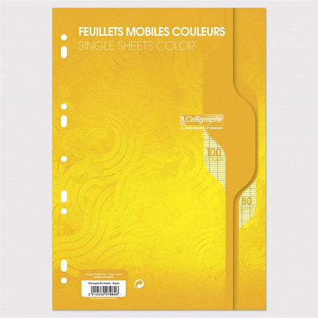 Feuilles simples perforées Jaune 21X297 100 pages seyes 80g Calli