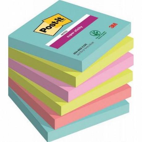 Notes super sticky 6 blocs 90 feuilles 76x76 mm miami