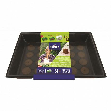 Mini Serre + 24 Pastilles de Coco Diamètre 3,5 cm Créneau d'irrigation