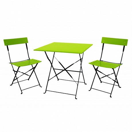 Set bistro pliant 3 pièces table carré 60*60cm + 2 chaises - vert & noir