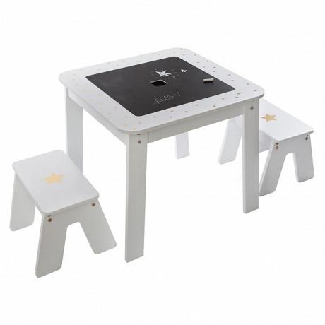 Table de jeux, bac avec 2 tabourets