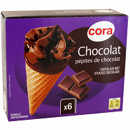 Cora 6 cônes chocolat 720ml - 432g