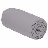 Drap housse 140x190 uni gris polycoton