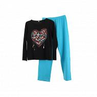 Pyjama long manches longues NOIR COEUR T50/52