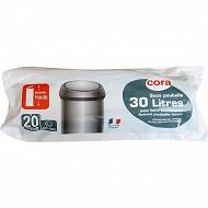 Cora sacs poubelle haute x20 à liens coulissants 30L