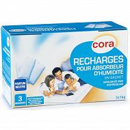"""Cora  3 recharges """"neutre""""d'absorbeur d'humidité - 1kg"""