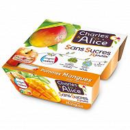 Charles & Alice spécialité de pommes et mangues 4x100g sans sucres ajoutés