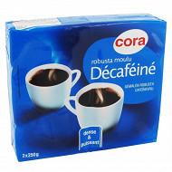 Cora café moulu robusta décaféiné 2x250g
