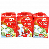 Cora crème liquide entière stérilisée UHT 30% mg 3x20cl