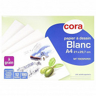 Cora pochette dessin papier à grain blanc 21 x 29.7 cm 12 feuilles