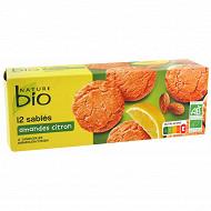 Nature bio 12 sablés aux amandes et à l'arôme naturel de citron bio 200 g