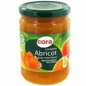 Cora compote d'abricot morceaux allégée en sucre 580g