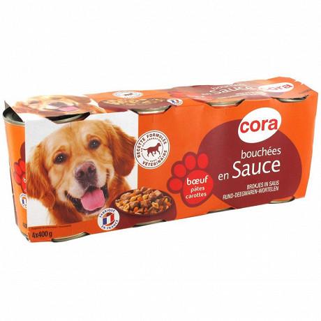 Cora bouchées en sauce pour chien au boeuf/pâtes/carottes 4 x 400g