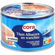 Cora thon albacore au naturel en tranche 280g