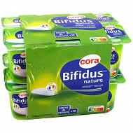 Cora lait fermenté au lait entier au bifidus nature 12x125g